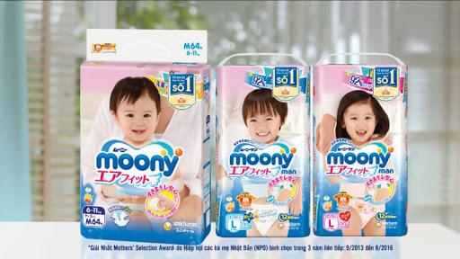 Bỉm Moony có thiết kế riêng cho bé trai và bé gái